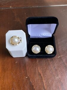 11.8g 14K Solid Yellow Gold 14mm Mabe Pearl & Diamond Ring & Earring Set Sz 5.25