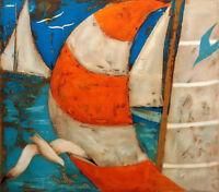 """Jean Oosterlynck """"Le Spinaker Orange"""" Signed Art Lithograph ships sailboats OBO"""