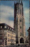 1963 FRIBOURG Schweiz Strassen Partie an der Kirche Saint-Nicolas Switzerland
