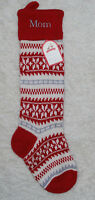 Pottery Barn Kids Christmas Stocking Wool Blend Natural Fair Isle Mom Knitted