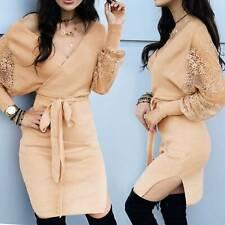 Winter Women Long Sleeve Midi Bodycon Dress V-Neck Party Split Dresses Club Slim
