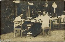 1910's Russian Photo Postcard THREE MEN AT TABLE Interesting text on the back