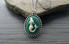 Handmade Mermaid Siren Cameo Necklace