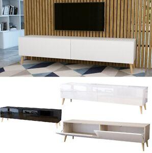 TV Schrank mit Füßen Lowboard Hängeboard HOCHGLANZ / Matt Weiß Schwarz 180 cm