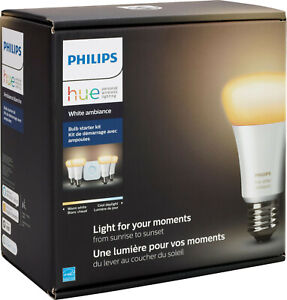Philips - Hue White Ambiance A19 LED Bulbs Starter Kit - White