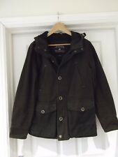 Burton Menswear Jacket Brown Hooded 100% Cotton Coat with Wool Trim Size Small