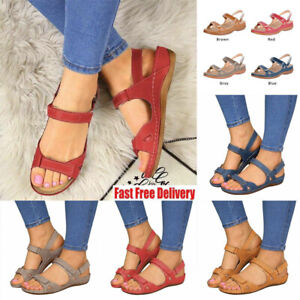 Ladies Womens Ankle Strap Wide Fit Flat Sandals Summer Beach Peep Toe Shoes Size