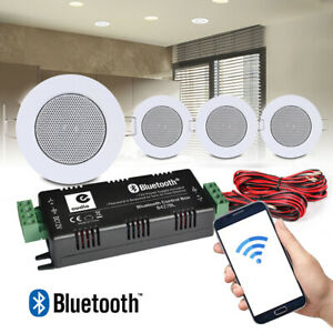 4x Ceiling Speakers and Bluetooth Amplifier Home Audio Installation Music System