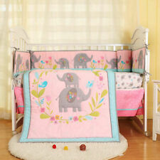 7pcs Girl Baby Bedding Set Elephant Flower Nursery Quilt Bumper Sheet Crib Skirt