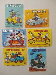Antigua Disney Characters Riding stamps MNH , Set of 6