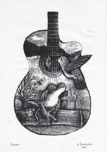 original drawing A3 13StA art samovar Ink double exposure guitar and animals