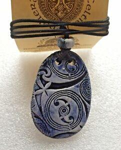 Celtic Gallery Design Ceramic Pendant ,Leather Strap, Harray Potter, Orkney *
