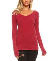 Red T-Shirt Size 6 Ladies Womens Cotton V Neck Top With Long Sleeves