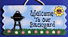 Welcome To Our Backyard Bbq Sign Wall Art Plaque Summer Pool Deck Patio Decor
