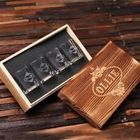 Personalized Grand Whiskey Gift Set of Four Shot Glasses w/ Customized Gift Box