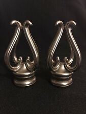 Drapery Finials Pair Curtain Rod Cambria Florentine Metal Brushed Nickel