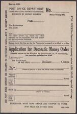 US Application for Domestic Money Order 1939