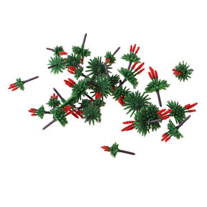 30 Pcs Model Trees with Flower Miniature Landscape Scenery Train Railway Red