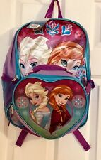 """Girls Frozen Backpack 16"""" w/ Detachable Insulated Lunch Bag Sisters Elsa Anna"""