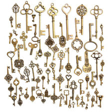 70pcs/set Vintage Old Look Bronze Skeleton Key Pendant Heart Bow Lock Steampunk