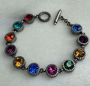 Patricia Locke Toggle Bracelet Silver Tone Multi Color Swarovski Crystal Signed