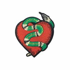 Small Snake Heart (Iron On) Embroidery Applique Patch Sew Iron Badge