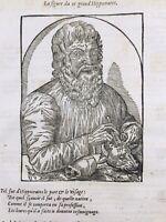 Chirurgie Médecine Gravure d'Hippocrate 1585 Ambroise Paré Instruments Medecin