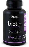 Biotin (High Potency) 5000mcg Per Veggie Softgel - Sports Research
