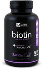 Biotin (High Potency) 5000mcg Per Veggie Softgel - Sports Research