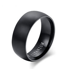 8mm Tungsten Carbide BLACK Wedding Band Men's Women's Engagement Bridal Ring