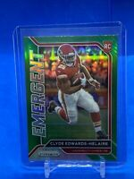 2020 Panini Prizm green Silver Prizm Clyde Edwards-Helaire RC Emergent-