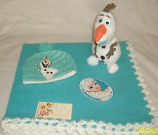 "Girls Baby Feet 28x25""Turquoise/White Frozen's Elsa Fleece Blanket Set w/ Plushy"