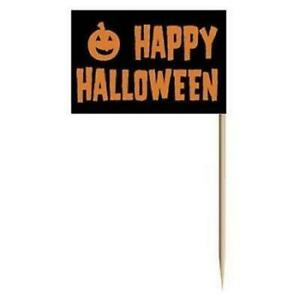 "Happy Halloween Flag Picks 50 Pack 2.5"" Paper Pumpkins Halloween Decorations"