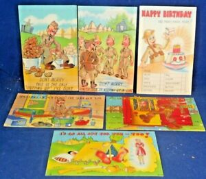 Lot of 6--WWII ARMY MILITARY Humor - 1940's Linen COMIC Postcards, AC Series