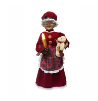 "24"" African American Animated Red Mrs. Claus with LED Lighted Candle Christmas"