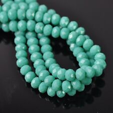100pcs 6x4mm Rondelle Faceted Crystal Glass Loose Beads Opaque Turquoise