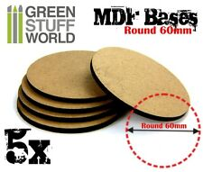 5x MDF Bases - Round 60mm - Thickness 3mm Basing Laser Cut Wargames Miniatures