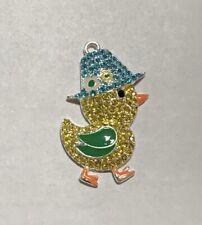 "Cute Waddling Duck With Rain Hat 2"" Rhinestone Enamel Charm Pendant"