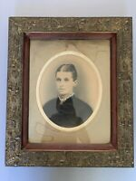 Antique Victorian Gilded Ornate Floral Frame w Original Portrait Glass Stunning!