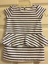 NWT Janie and Jack PARISIAN PARK 2T 4 12 Striped Peplum Dress $49 Black White