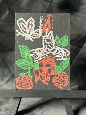 ACEO Original Butterfly & Candle Roses Love Medium Mixed Media on Paper Signed