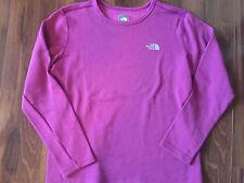 girls THE NORTH FACE L/S PURPLE SHIRT logo MAGENTA sweatshirt WOOL size 18 XL