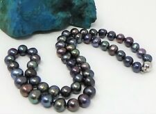 14K White Gold Vintage Black Tahitian Peacock Semi-Baroque Pearl Necklace 18""