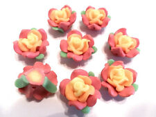 New 25 Fimo Polymer Clay Yellow Brown Flower Rose Fimo Beads 22mm