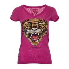 ED HARDY Women Junior SMALL V-neck Pink Burnout Tee 67 STYLE Studded Tiger Lion