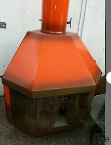 Mid Century Modern Orange Malm Carousel MALM FIREPLACE, Authentic Vintage retro