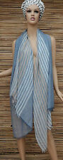 *NEW*OVERSIZE LADIES/MENS STRIPED SOFT 100% LINEN FRAYED SCARF*BLUE*SCARVES