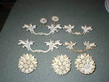 Vintage Hollywood Regency Roses WHITE GOLD Dresser Drawer Pulls Knobs Set of 9