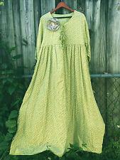 Shabby MAGNOLIA flower DRESS pearl buttons VICTORIAN Lime Prairie L XL 1X