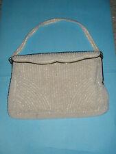 Vintage Charbet White Beaded Handbag Evening Bag Made in Belgium 1950s
